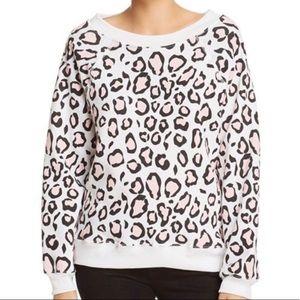 Wildfox Sommers Pink Leopard Print Sweatshirt Med